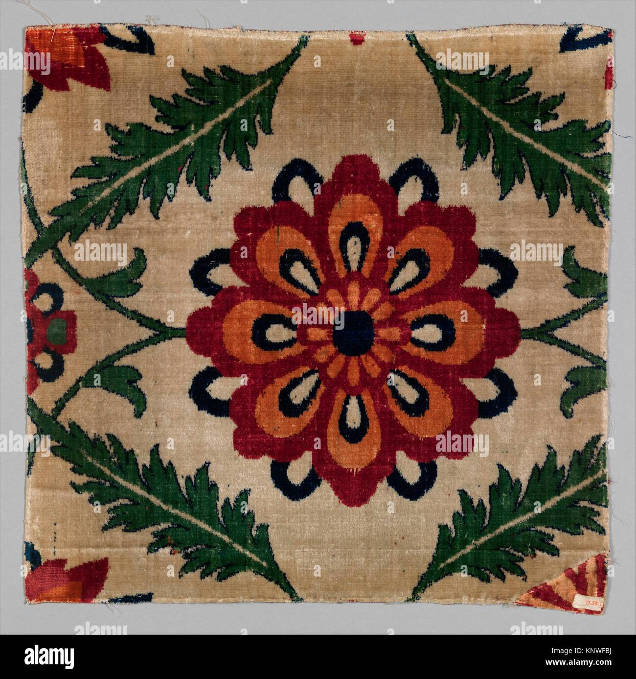 Fragment of a White-Ground Velvet Carpet. Object Name: Fragment; Date: 17th century; Geography: Attributed to India; - Stock Image