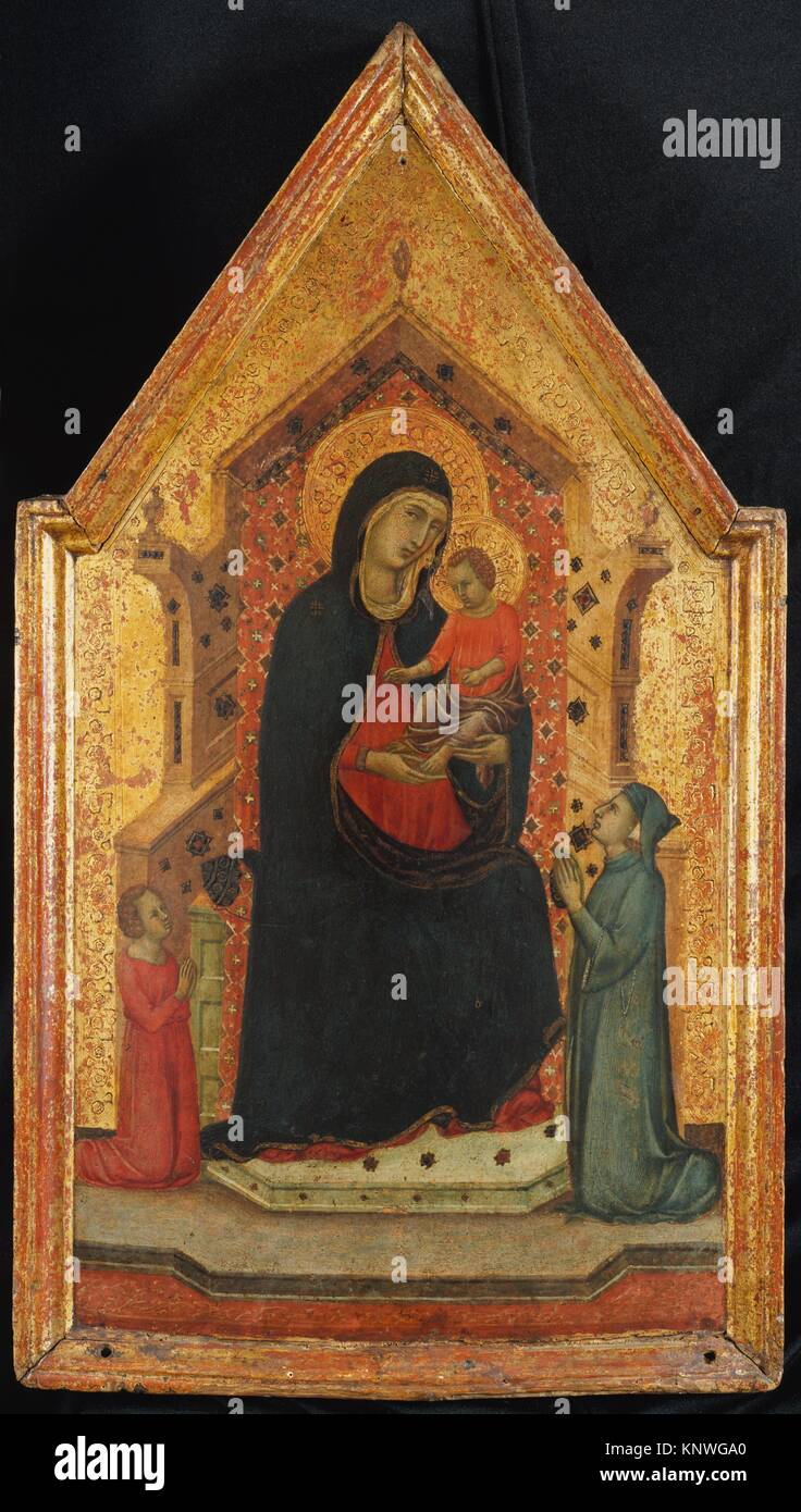 Madonna and Child Enthroned with Two Donors. Artist: Goodhart Ducciesque Master (Italian, Siena, active ca. 1315 - Stock Image