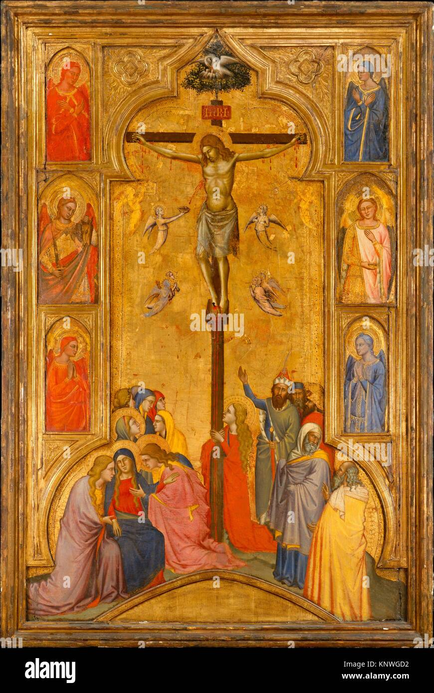 The Crucifixion. Artist: Andrea di Cione (Orcagna) (Italian, Florence 1315/20-1368 Florence) , and workshop; Date: - Stock Image