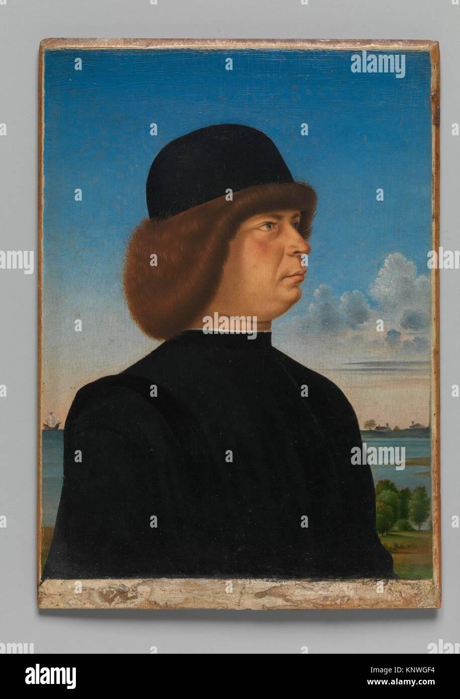 Portrait of Alvise Contarini(?); (verso) A Tethered Roebuck. Artist: Jacometto (Jacometto Veneziano) (Italian, active - Stock Image