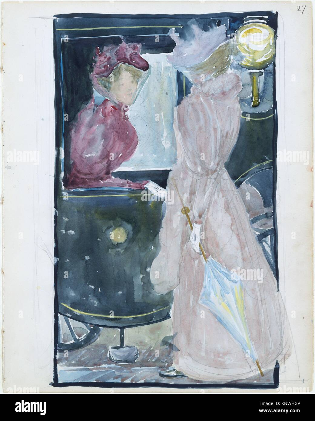 Large Boston Public Garden Sketchbook: Two women stopping to converse with an acquaintance riding in a carriage. - Stock Image