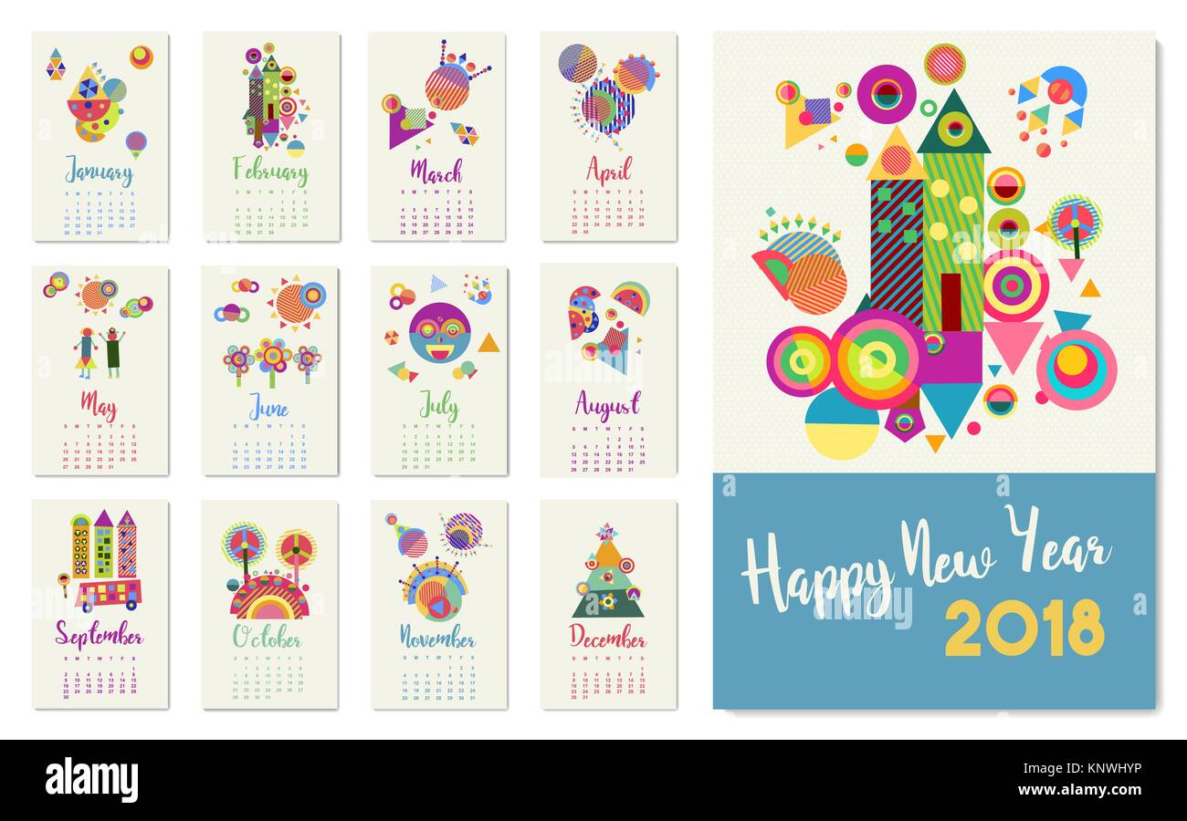 happy new year 2018 calendar template with happy colorful geometric decoration for monthly planner designs eps10 vector