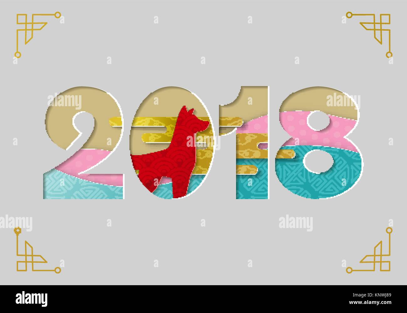 Happy Chinese New Year 2018 Greeting Card Cutout Illustration