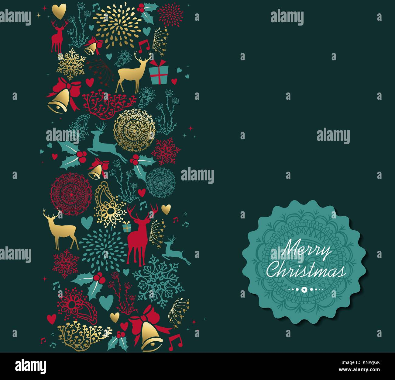 merry christmas vintage golden seamless pattern background with deer KNWJGK