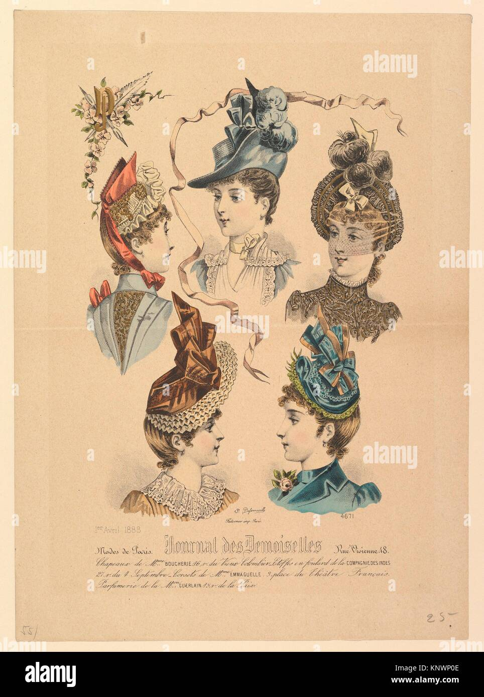 Ladies' Hats, No. 4671, from Journal des Demoiselles. Artist: Paul Deferneville (French, active 19th century); - Stock Image