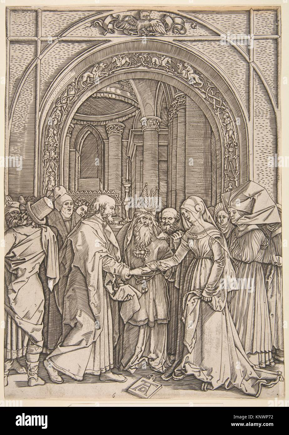 The Betrothal of the Virgin, from The Life of the Virgin (copy). Artist: After Albrecht Dürer (German, Nuremberg - Stock Image