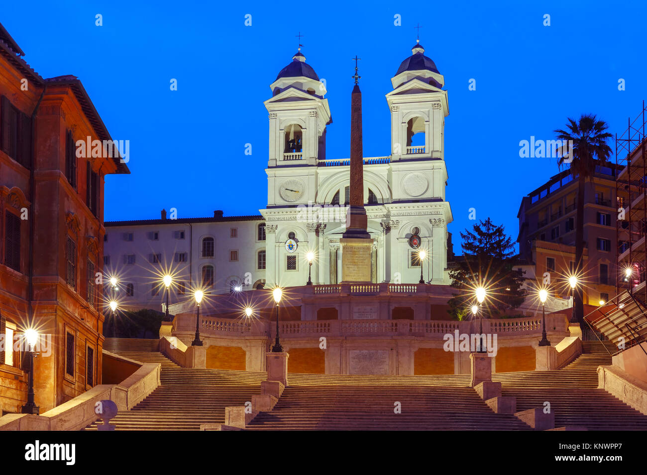Spanish Steps at night, Rome, Italy. - Stock Image