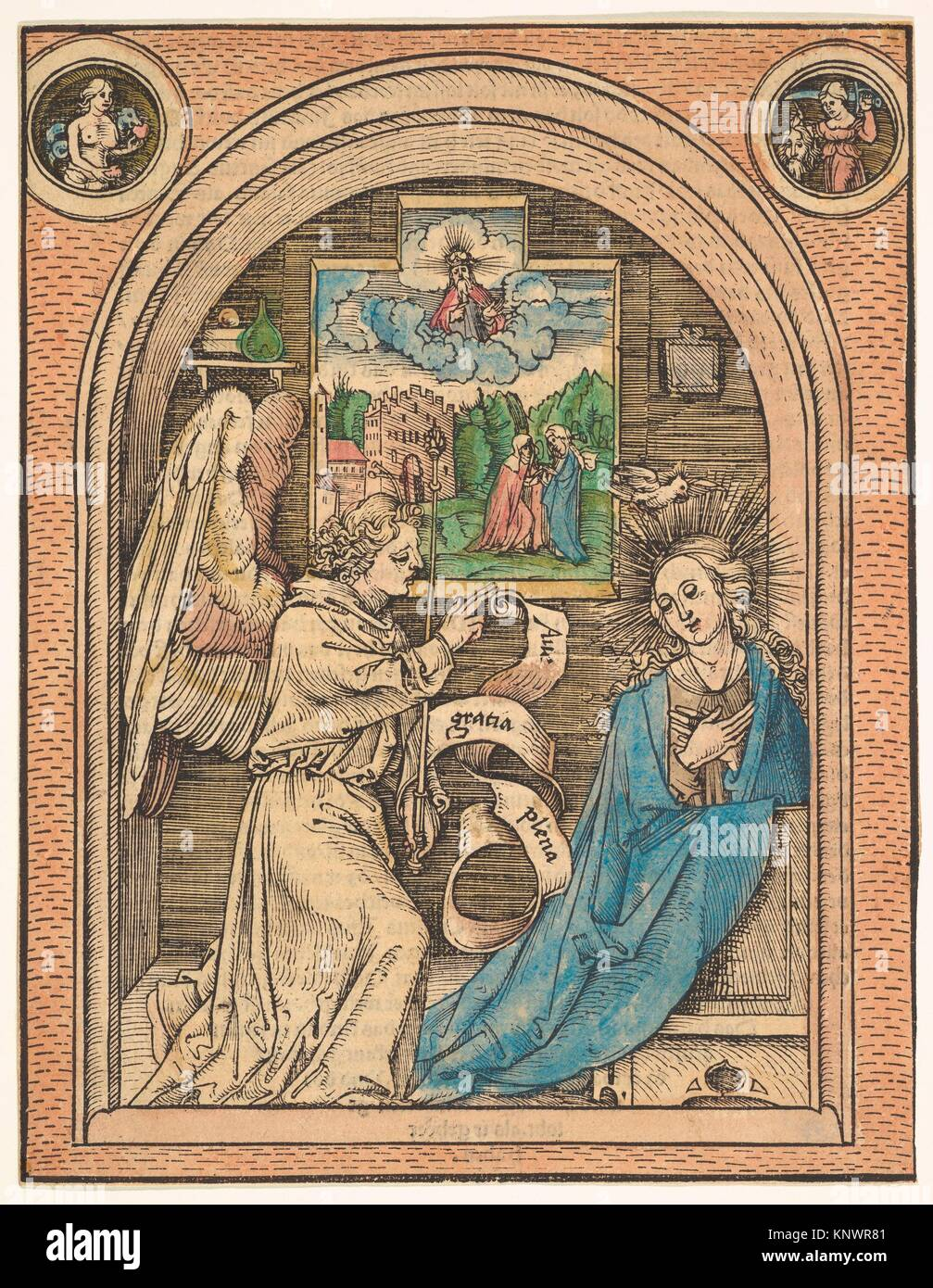 The Annunciation. Artist: Hans Wechtlin (German, Strasbourg ca. 1480/85-after 1526); Date: late 15th-early 16th - Stock Image