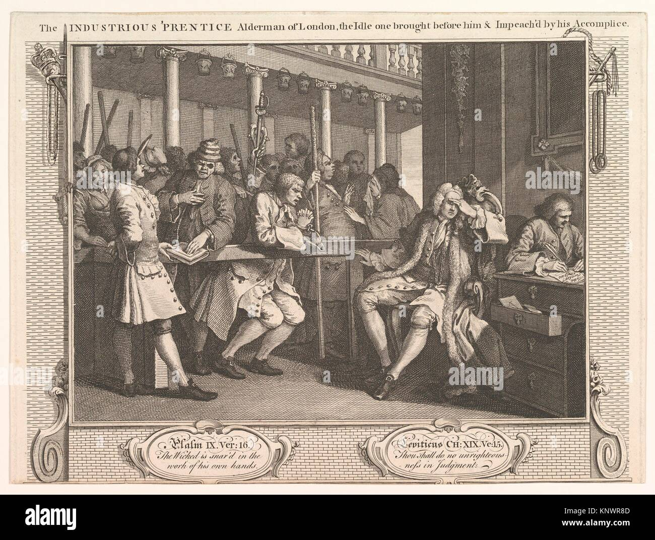 The Industrious 'Prentice Alderman of London, The Idle One Brought Before Him and Impeached by his Accomplices - Stock Image