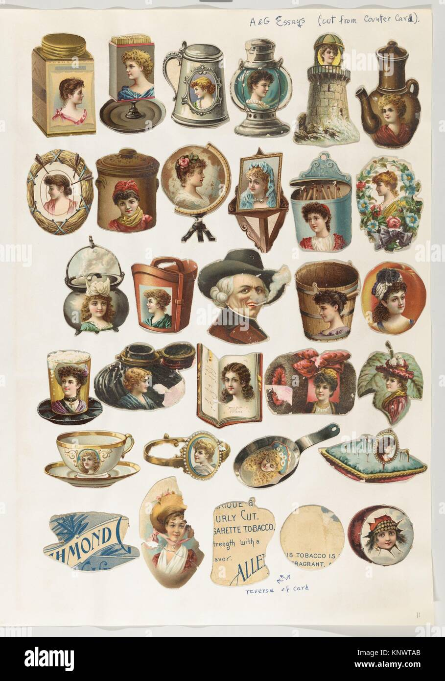 Thirty-one cut-outs from advertising banner for Allen & Ginter Cigarettes. Publisher: Issued by Allen & - Stock Image