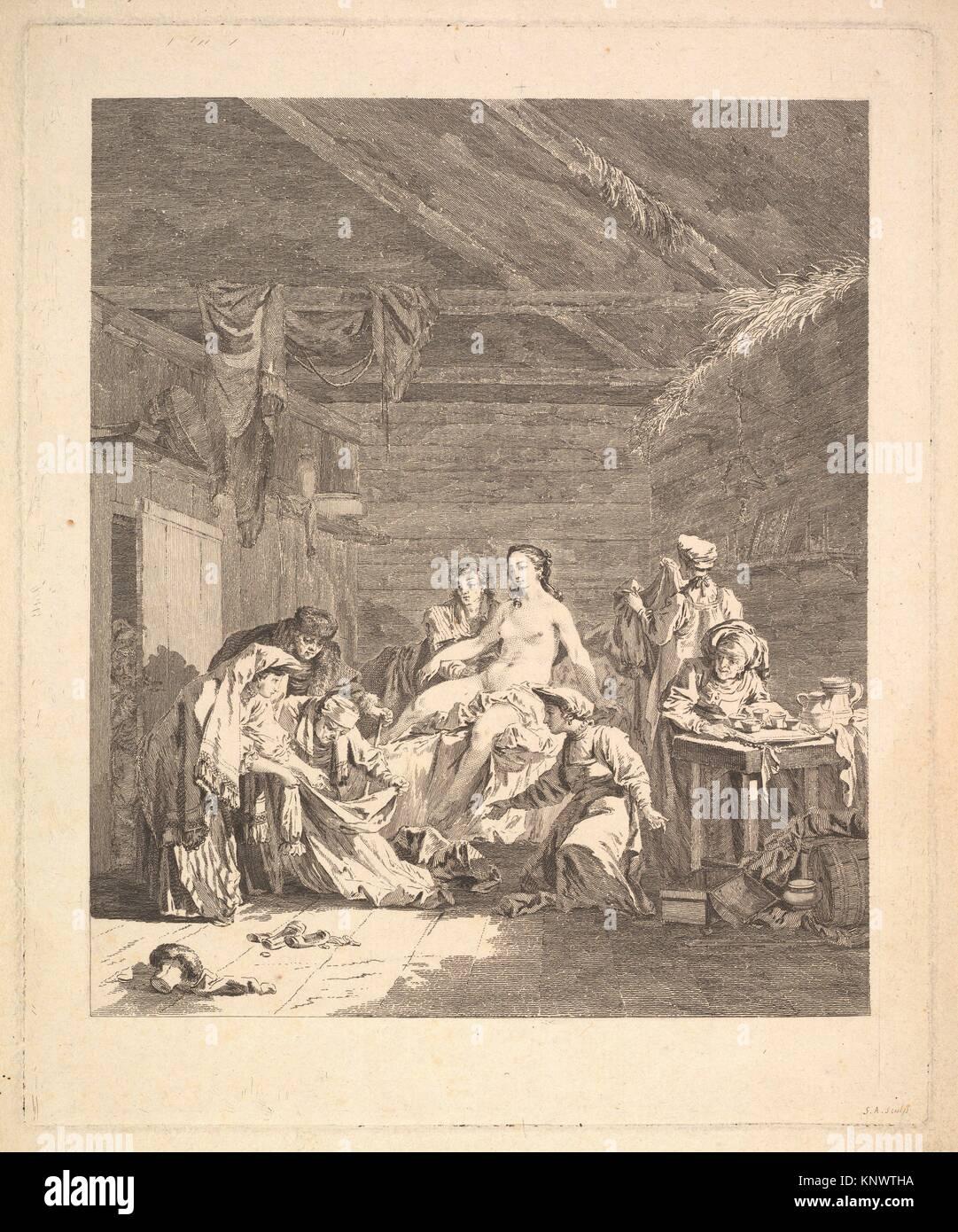 Vignette of the first volume, page 165: Usage des Russes après le Mariage et avant la Noce, from Voyage en - Stock Image