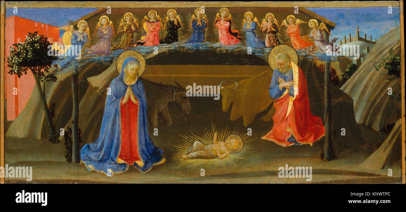 The Nativity. Artist: Attributed to Zanobi Strozzi (Italian, Florence 1412-1468 Florence); Date: ca. 1433-34; Medium: - Stock Image