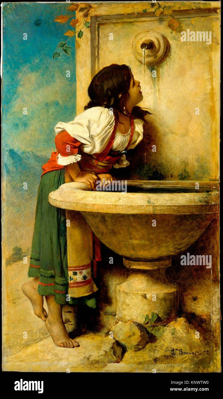 Roman Girl at a Fountain. Artist: Léon Bonnat (French, Bayonne 1833-1922 Monchy-Saint-Eloi); Date: 1875; Medium: - Stock Image
