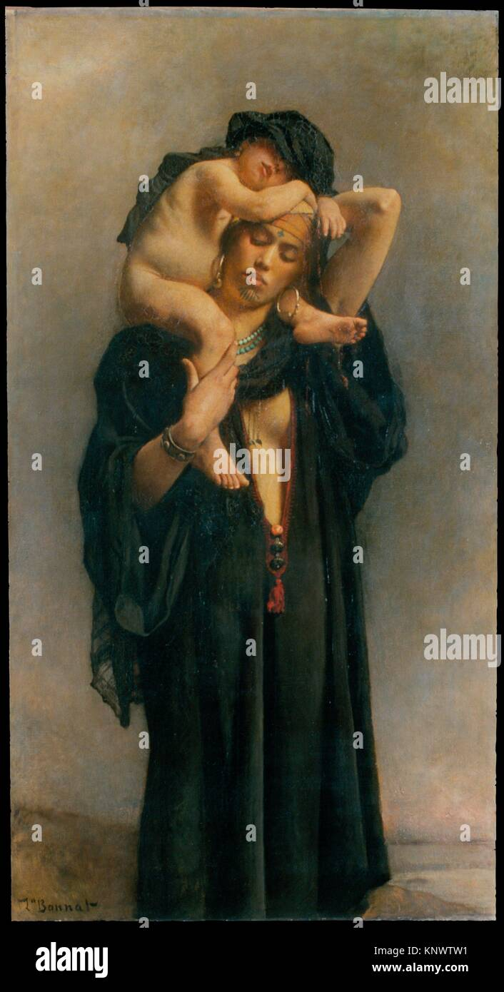 An Egyptian Peasant Woman and Her Child. Artist: Léon Bonnat (French, Bayonne 1833-1922 Monchy-Saint-Eloi); - Stock Image