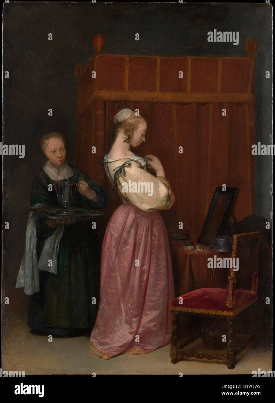 A Young Woman at Her Toilet with a Maid. Artist: Gerard ter Borch the Younger (Dutch, Zwolle 1617-1681 Deventer); - Stock Image