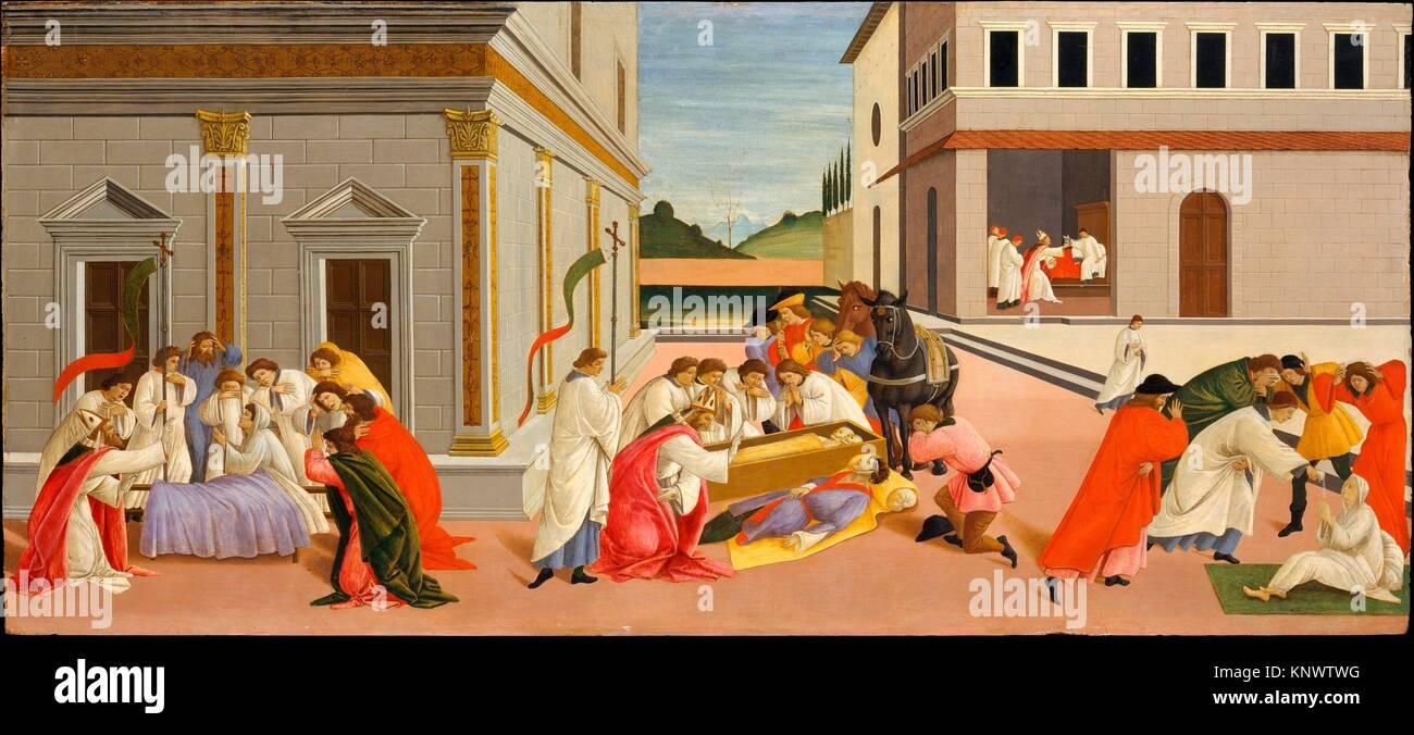 Three Miracles of Saint Zenobius. Artist: Botticelli (Alessandro di Mariano Filipepi) (Italian, Florence 1444/45 - Stock Image