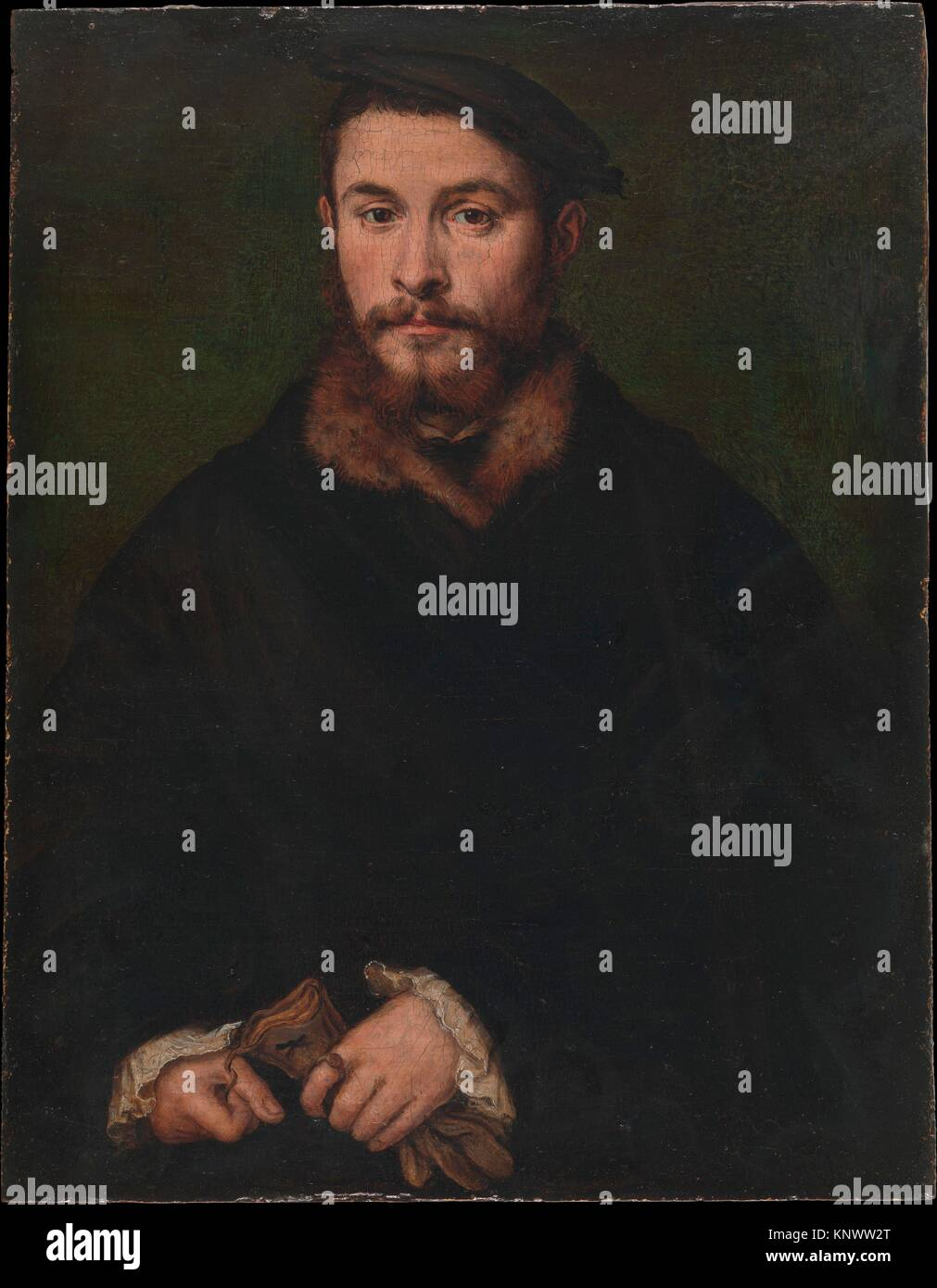 Portrait of a Man with Gloves. Artist: Corneille de Lyon (Netherlandish, The Hague, active by 1533-died 1575 Lyons); Stock Photo