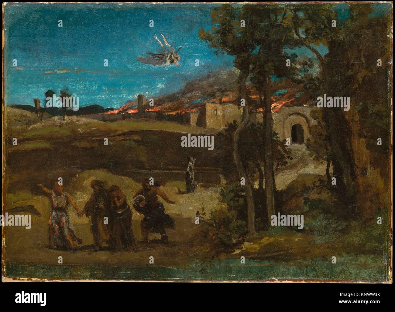 Study for The Destruction of Sodom. Artist: Camille Corot (French, Paris 1796-1875 Paris); Date: 1843; Medium: Oil Stock Photo