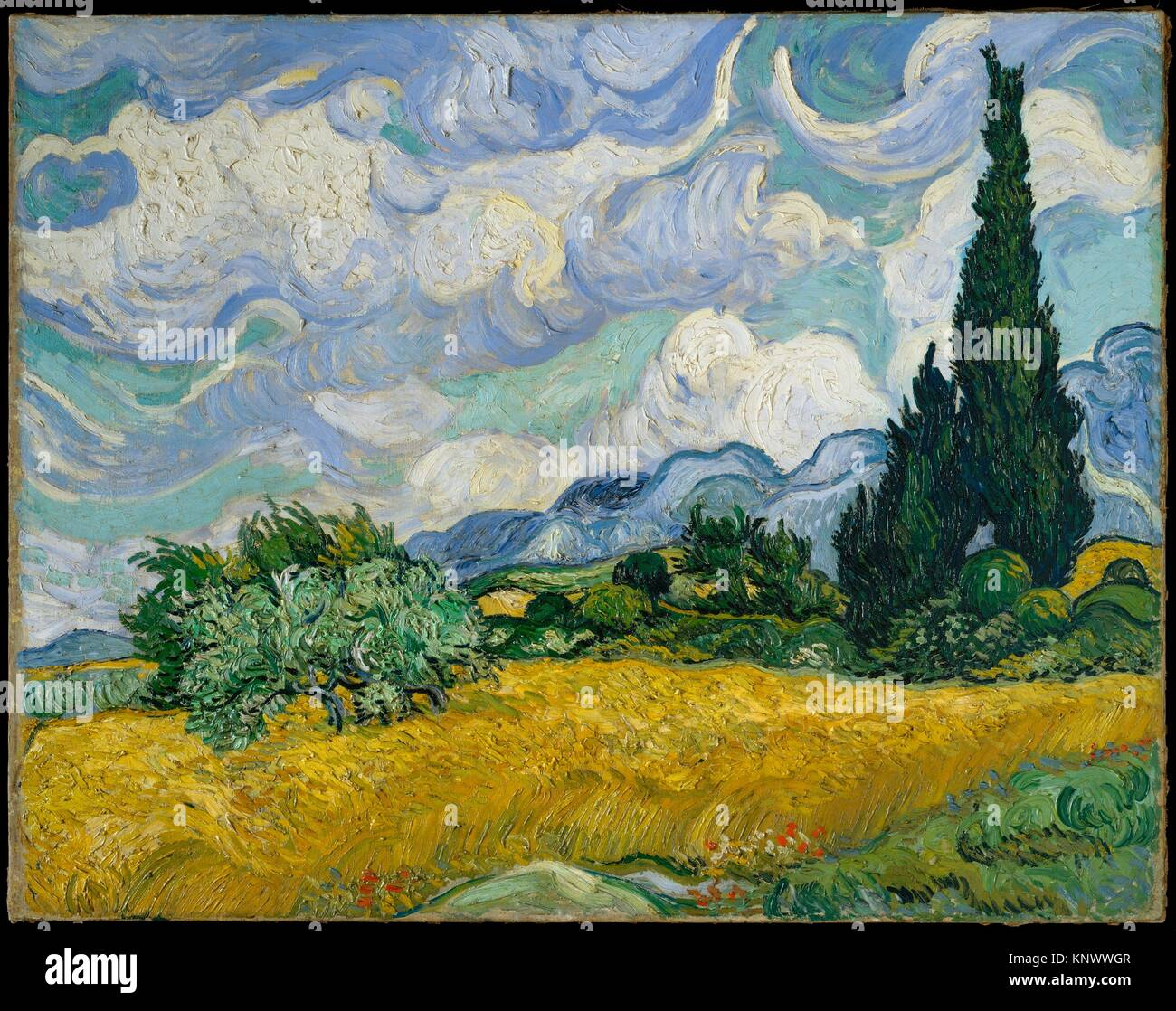 Wheat Field with Cypresses. Artist: Vincent van Gogh (Dutch, Zundert 1853-1890 Auvers-sur-Oise); Date: 1889; Medium: - Stock Image