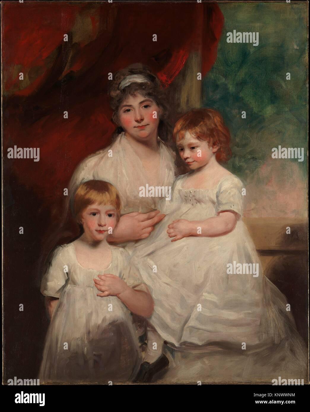 Mrs. John Garden (Ann Garden, 1769-1842) and Her Children, John (1796-1854) and Ann Margaret (born 1793). Artist: - Stock Image