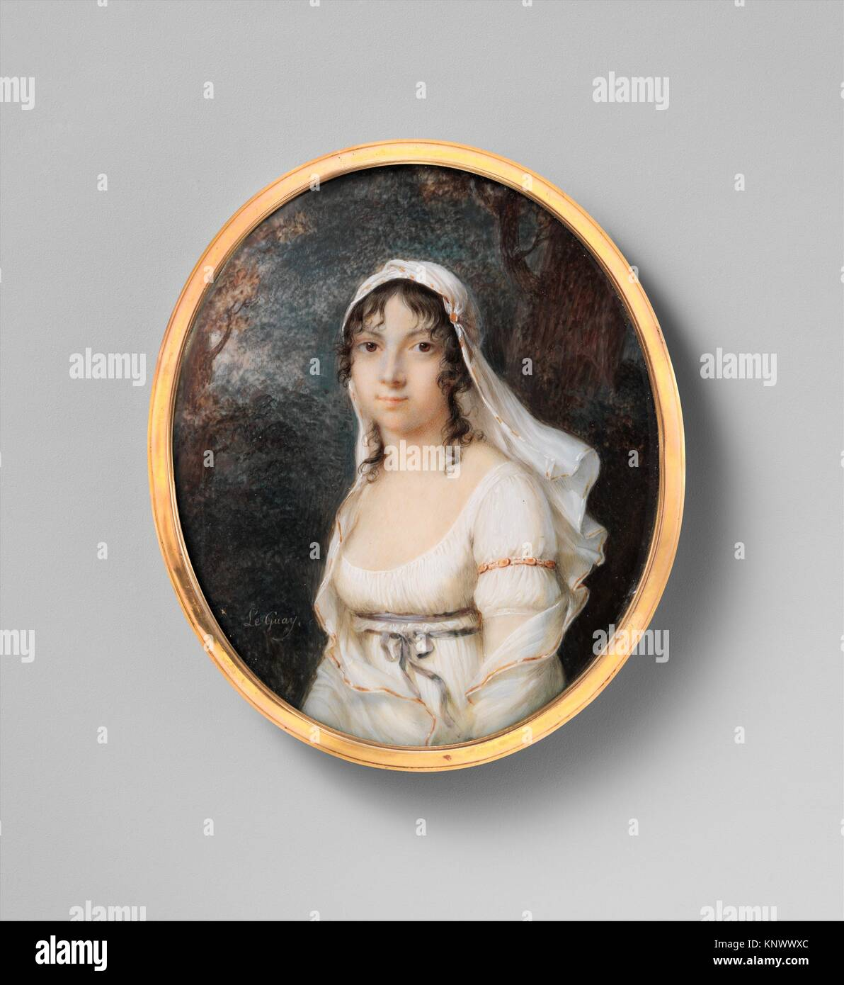 Portrait of a Woman. Artist: Étienne Charles Le Guay (French, 1762-1846); Date: ca. 1800; Medium: Ivory; Dimensions: - Stock Image