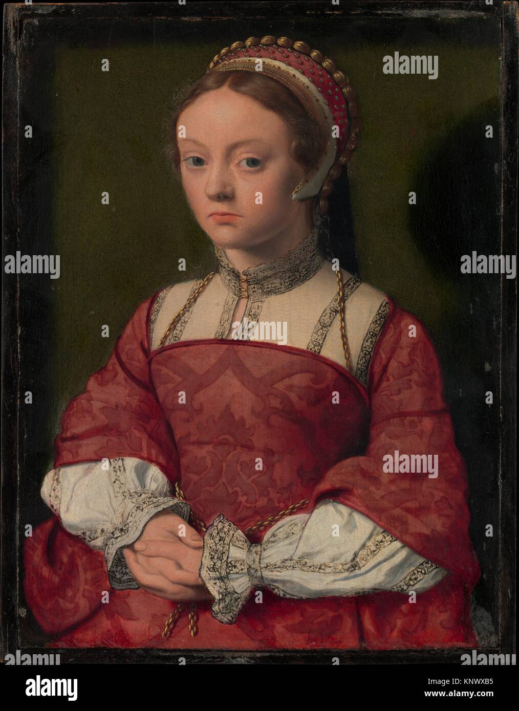 Portrait of a Young Woman. Artist: Netherlandish Painter (ca. 1535); Medium: Oil on wood; Dimensions: 10 1/2 x 8 Stock Photo