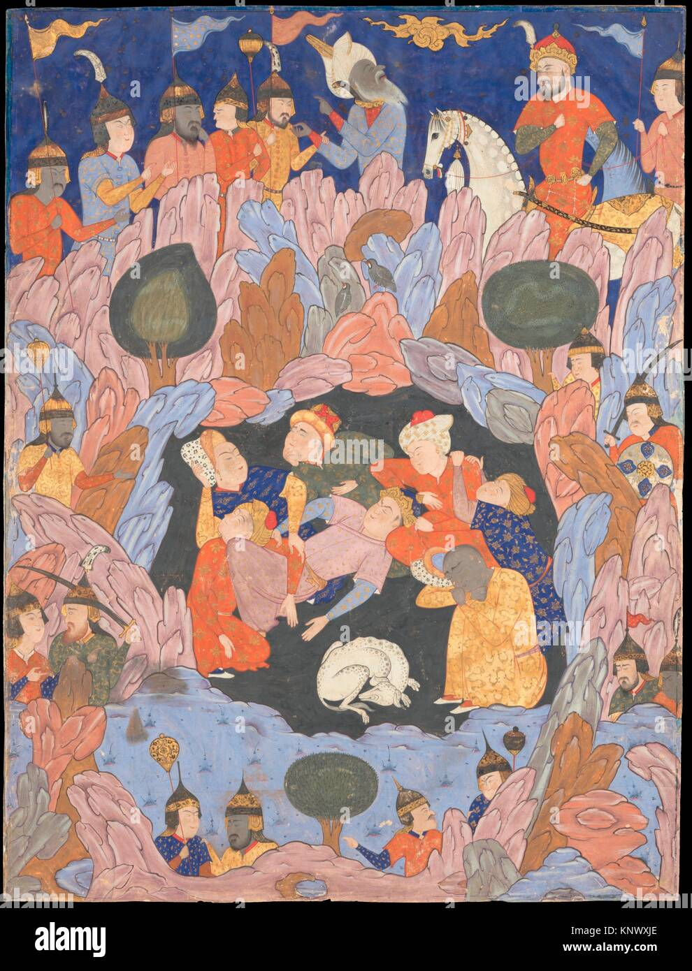 The Seven Sleepers of Ephesus Discovered by Alexander the Great, Folio from a Falnama (Book of Omens). Object Name: - Stock Image