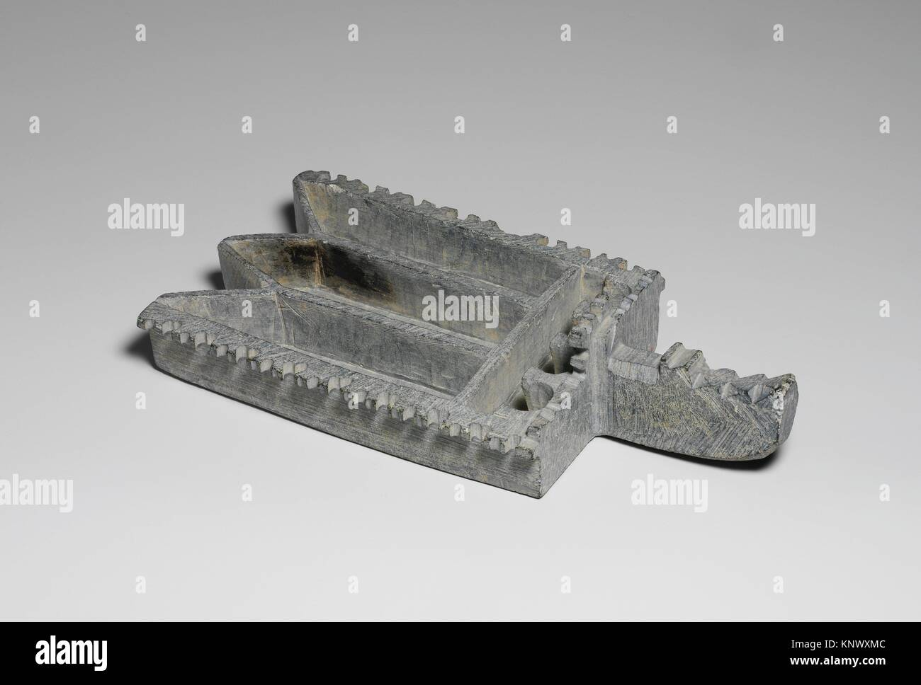 Stone Oil Lamp. Object Name: Lamp; Date: 9th century; Geography: Excavated in Iran, Nishapur; Medium: Steatite; - Stock Image
