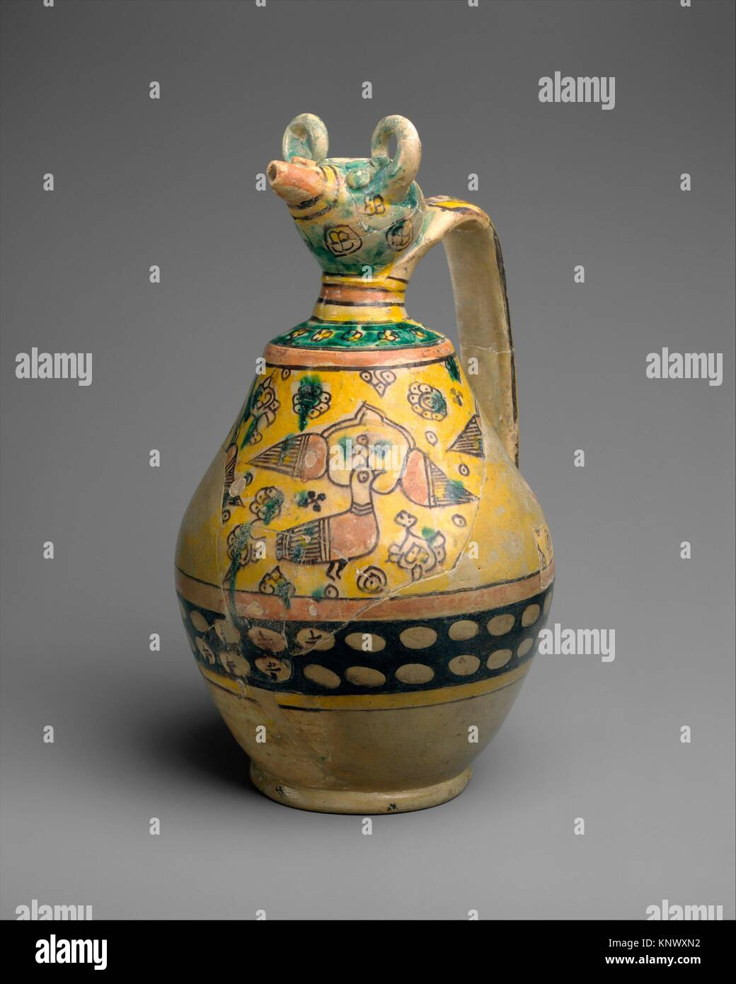 Animal-Spouted Pitcher. Object Name: Ewer; Date: 9th-10th century; Geography: Attributed to Iran, Nishapur. Excavated - Stock Image