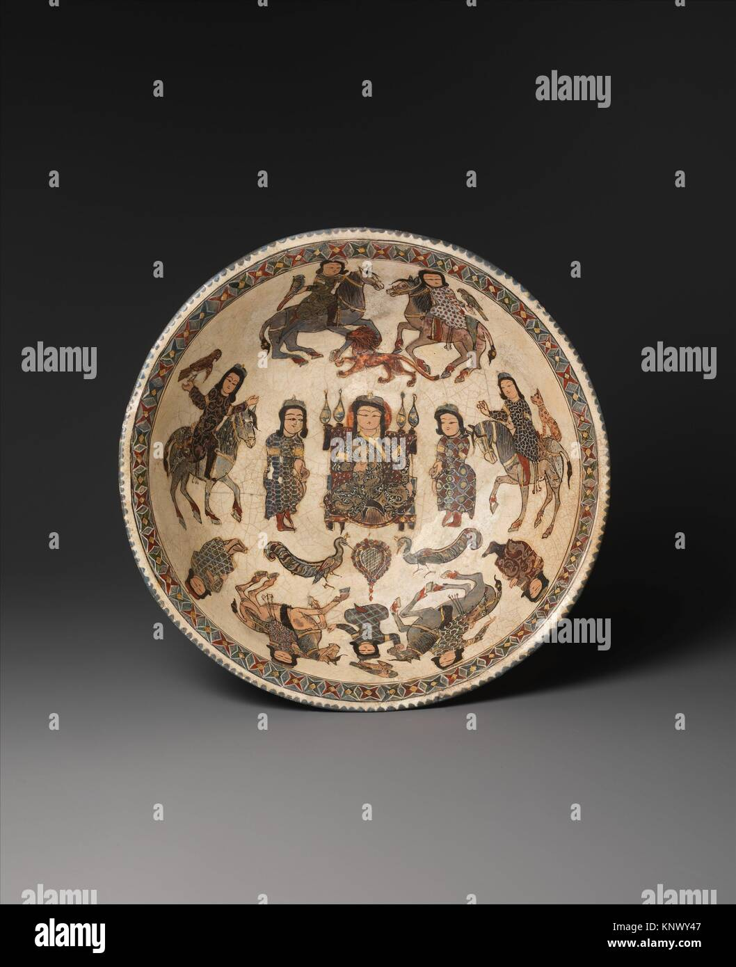 Bowl with Enthroned Figure and Horsemen. Object Name: Bowl; Date: late 12th-early 13th century; Geography: Country Stock Photo