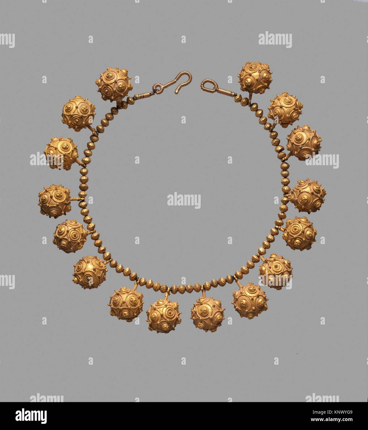 Necklace. Date: 11th century; Geography: Country of Origin Iran; Medium: Gold; granulation; Dimensions: H. 16 in. Stock Photo