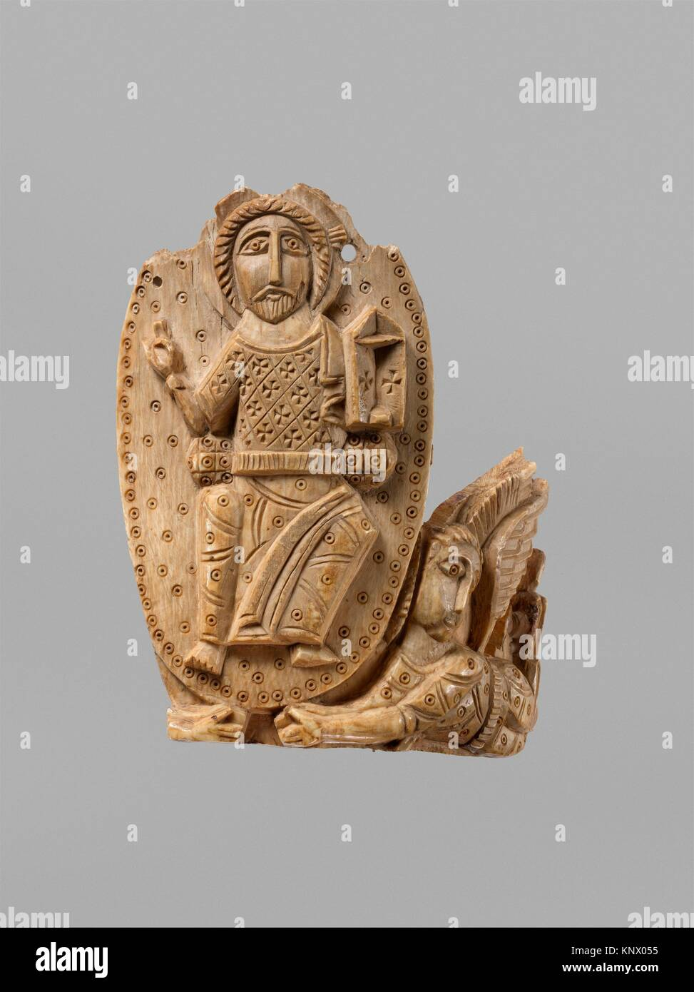 Tusk Fragment with Christ Enthroned. Object Name: Tusk fragment; Date: 810-1010; Geography: Attributed to Egypt; - Stock Image
