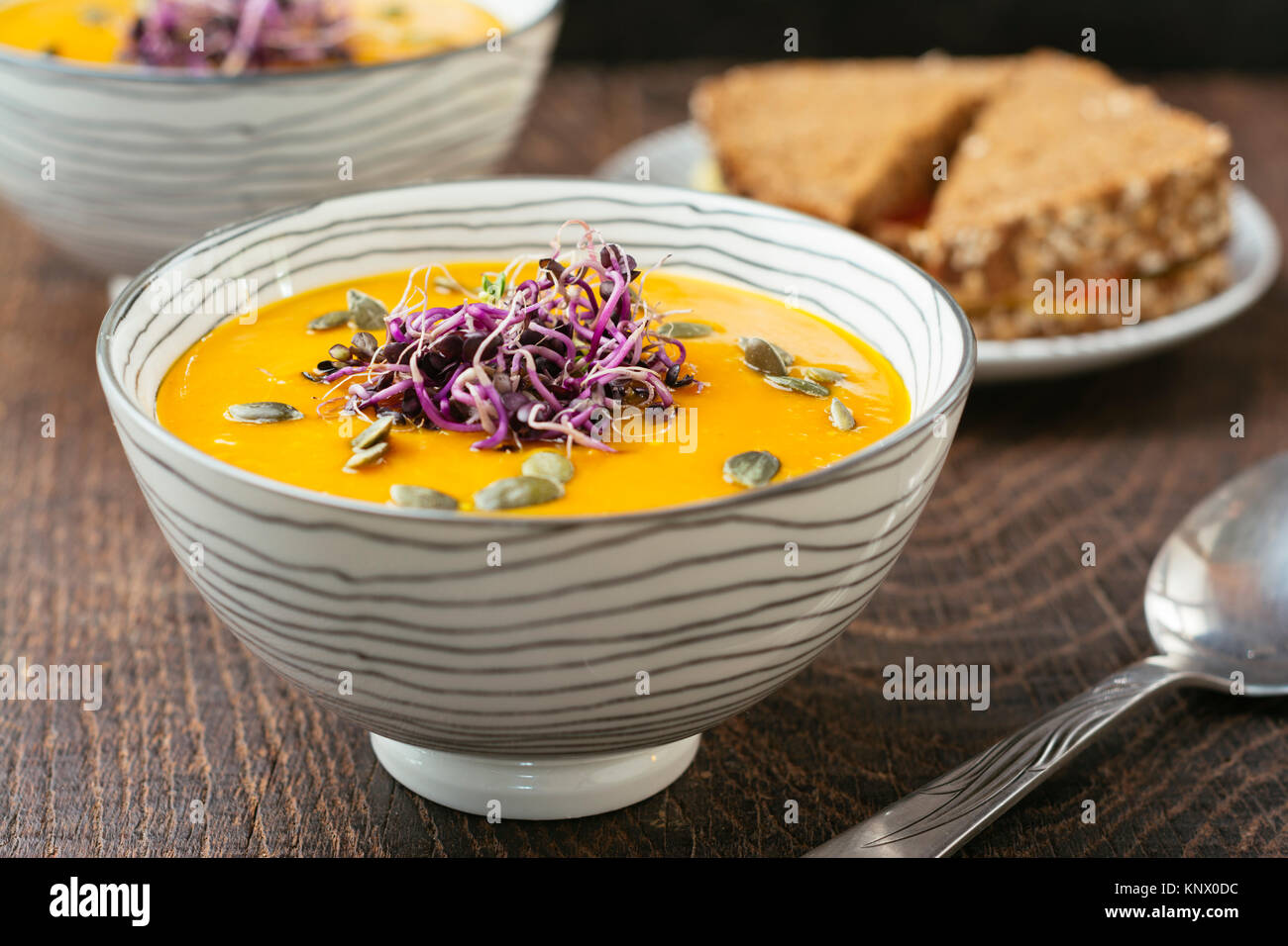 Spicy Squash Soup, gardnished with radish sprouts and pumpkin seeds. Stock Photo
