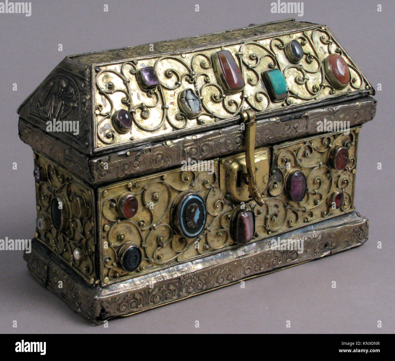 Chasse. Date: 12th century; Culture: German; Medium: Silver-gilt, wood, gems, intaglio, cameo over wood core; Dimensions: - Stock Image