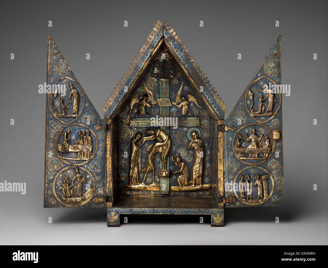 Tabernacle of Cherves. Date: ca. 1220-1230; Geography: Made in Limoges, France; Culture: French; Medium: Copper - Stock Image