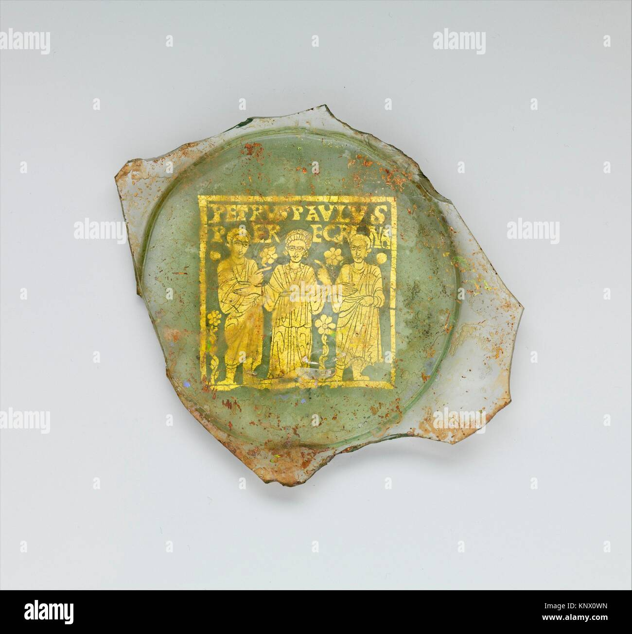 Plate Base with Peregrina between Saints Peter and Paul. Date: mid-300s; Geography: Made in Rome; Culture: Roman; - Stock Image