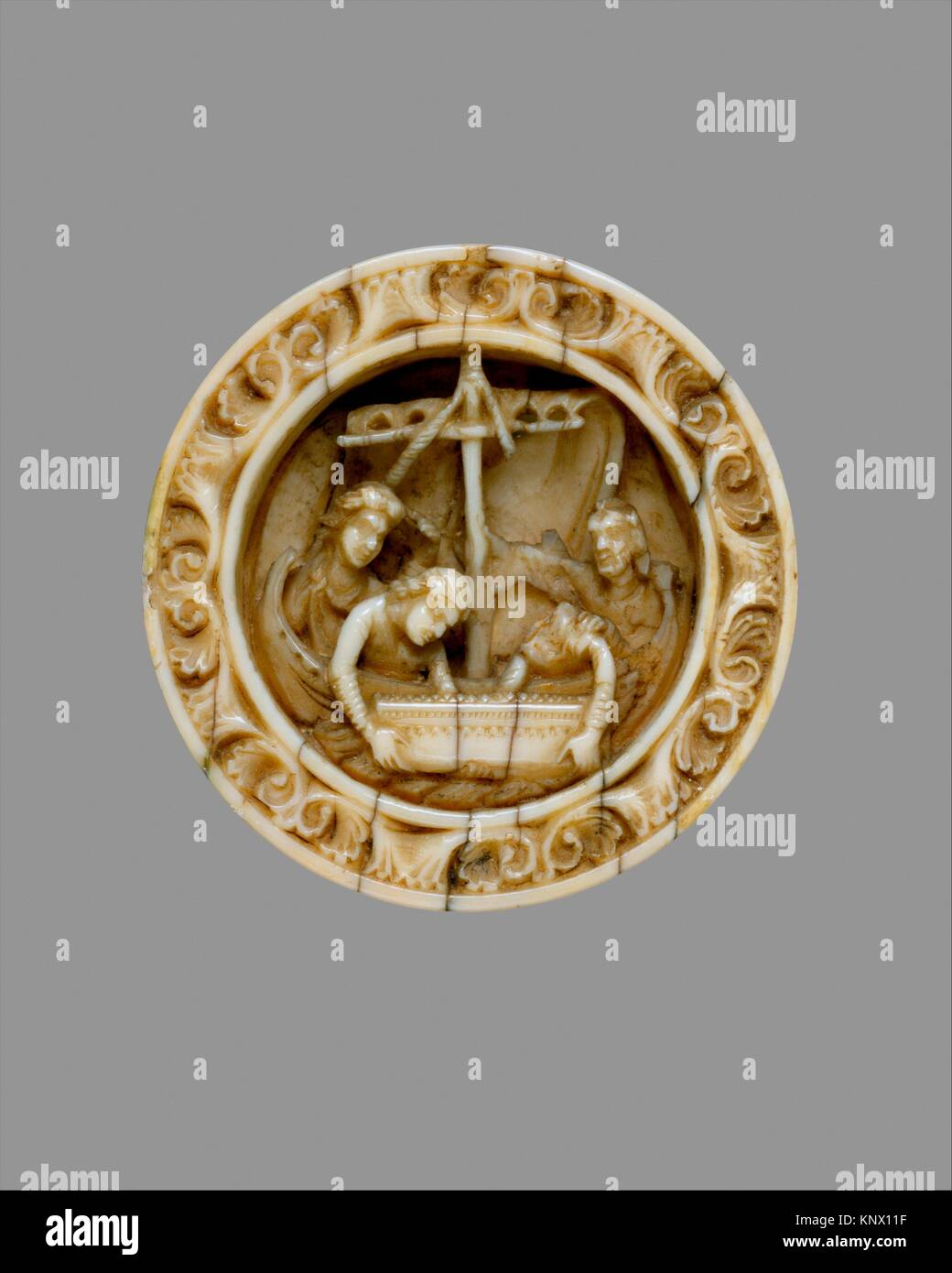 Game Piece with a Scene from the Life of Apollonius of Tyre. Date: ca. 1170; Geography: Made in Cologne, Germany; - Stock Image