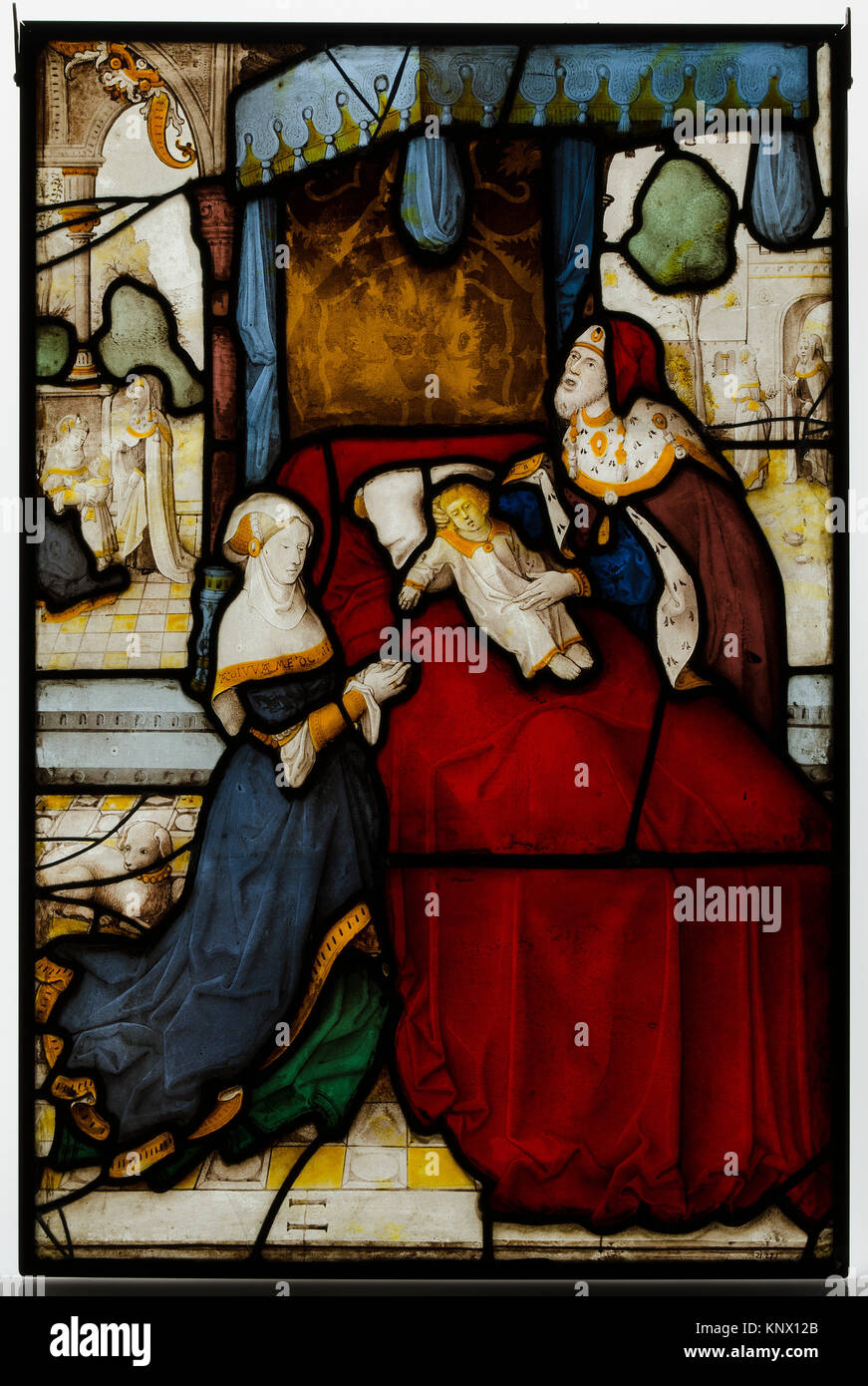 Glass Panel of Elijah and the Widow´s Son. Artist: probably by Jan van Diependale (active 1509-1534); Date: early Stock Photo