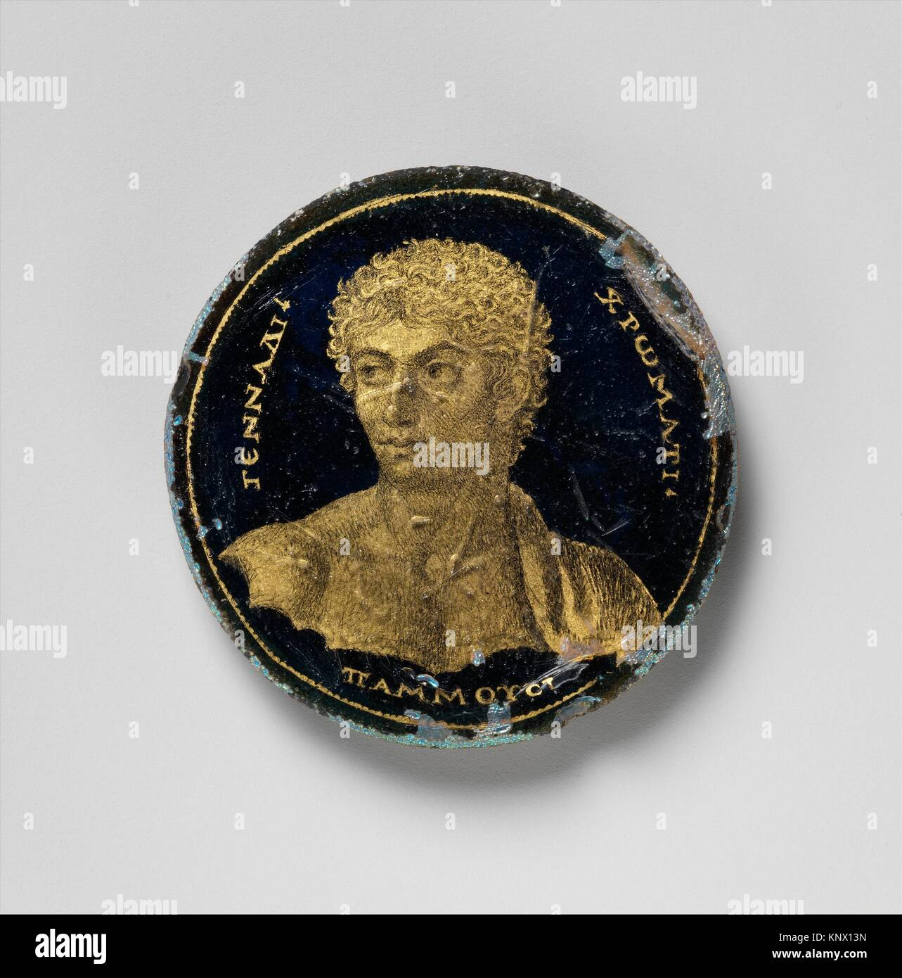 Medallion with a Portrait of Gennadios. Date: 250-300; Geography: Made in Alexandria, Egypt; Culture: Roman; Medium: - Stock Image