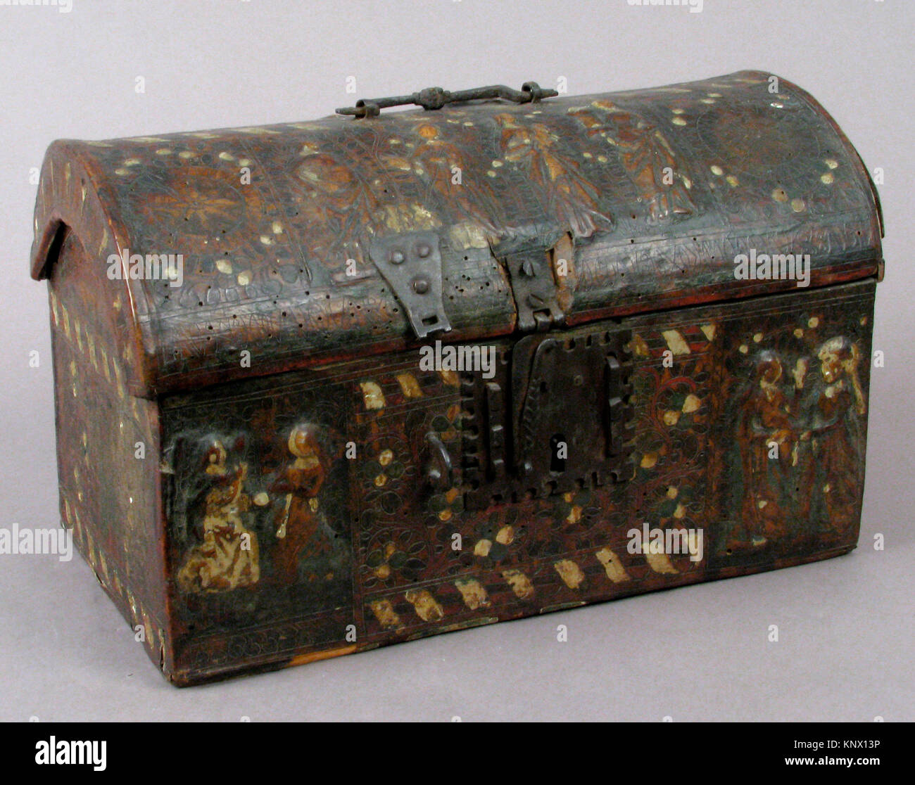 Coffret. Date: 15th century; Culture: French; Medium: Leather, (stamped and tooled) with polychromy, metal fittings; Stock Photo