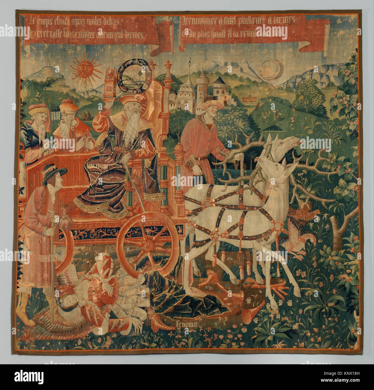 The Triumph of Time over Fame. Date: ca. 1500-1530; Culture: South Netherlandish; Medium: Wool warp; wool and silk - Stock Image