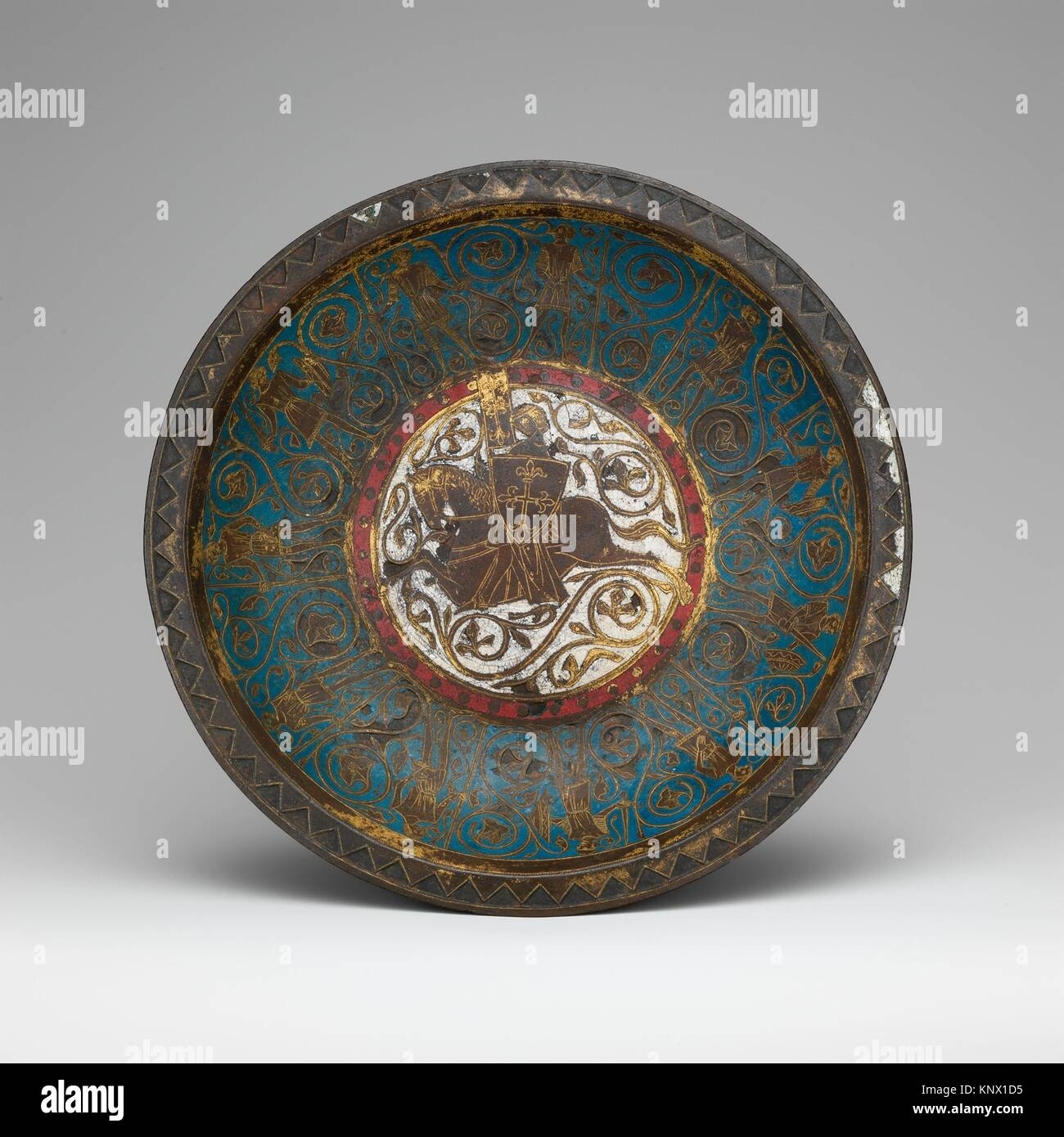 Gemellion (Hand Basin) with a Knight on Horseback. Date: ca. 1250-75; Geography: Made in Limoges, France; Culture: - Stock Image