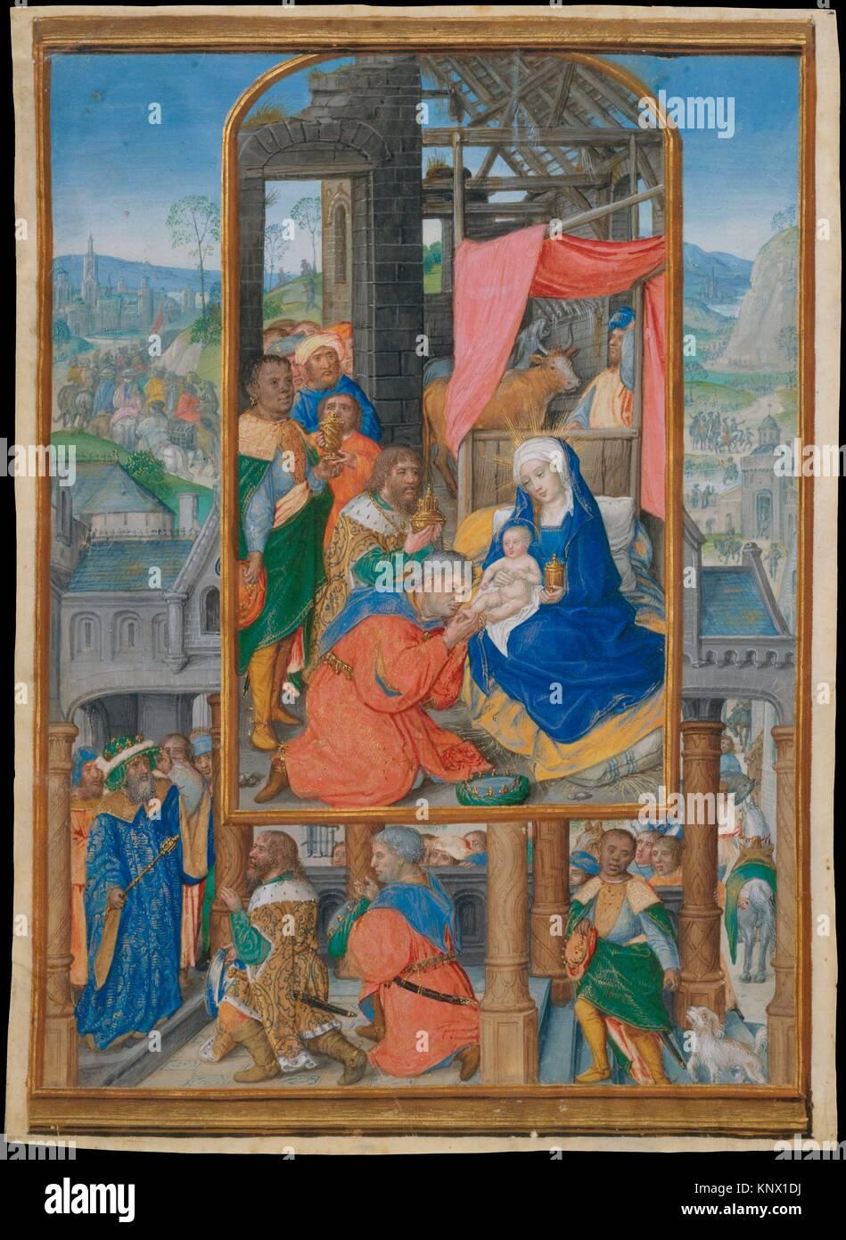 Manuscript Illumination with Adoration of the Magi. Artist: Master of James IV of Scotland (probably Gerard Horenbout) - Stock Image