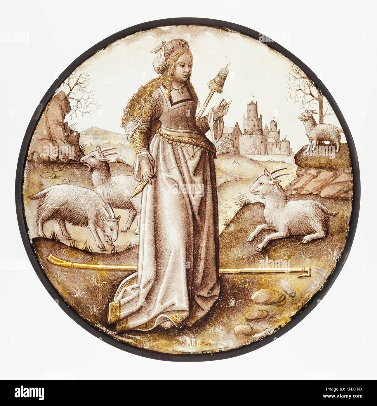 Roundel with Allegorical Figure. Date: ca. 1510-15; Culture: South Netherlandish; Medium: Colorless glass, vitreous - Stock Image