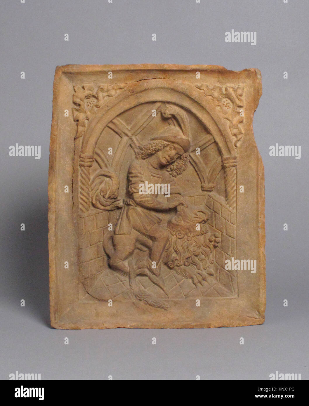 Oven Tile with Samson and the Lion (Based on an Engraving by Master E.S.). Date: ca. 1490; Geography: Made in probably - Stock Image