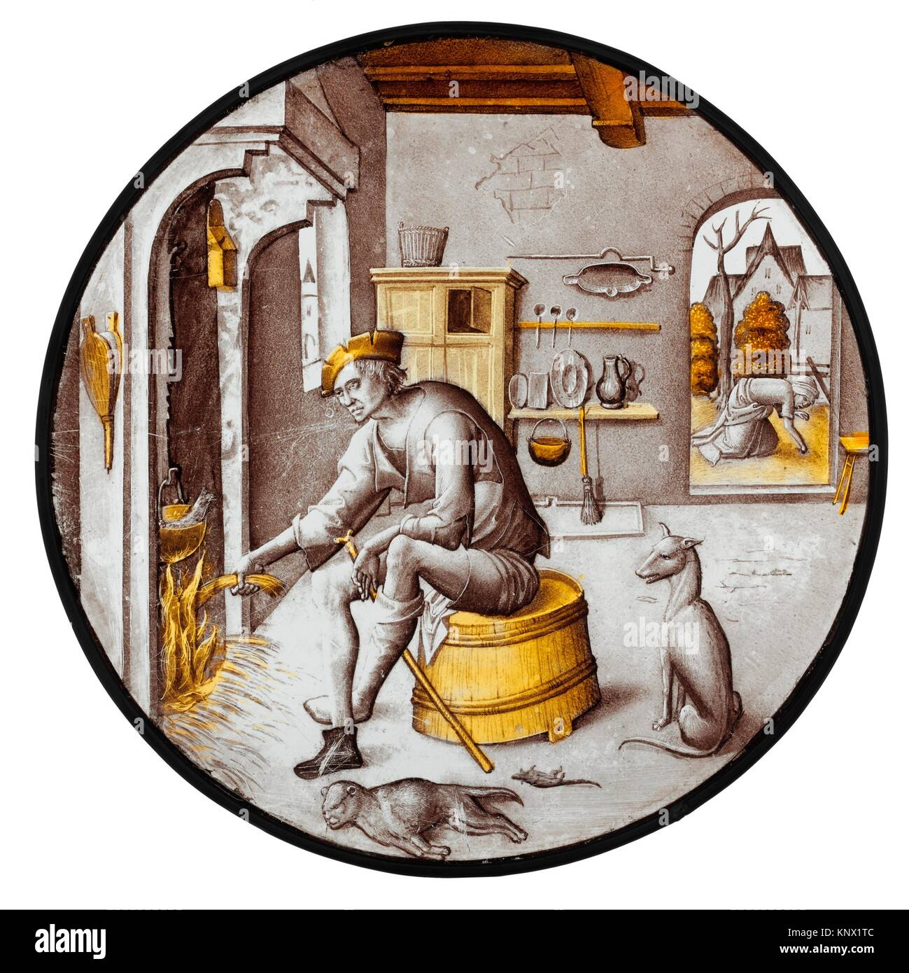 Sorgheloos (Carefree) in Poverty. Date: 1510-20; Culture: Netherlandish; Medium: Colorless glass, vitreous paint - Stock Image