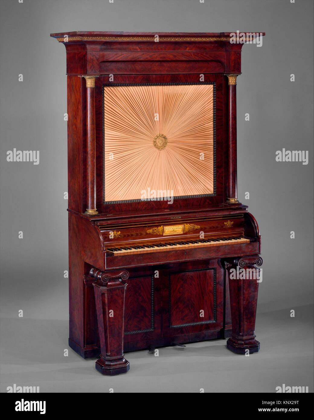Upright Cabinet Piano. Maker: Firth, Hall & Pond (American, New York); Date: 1835; Geography: New York, United States; Stock Photo