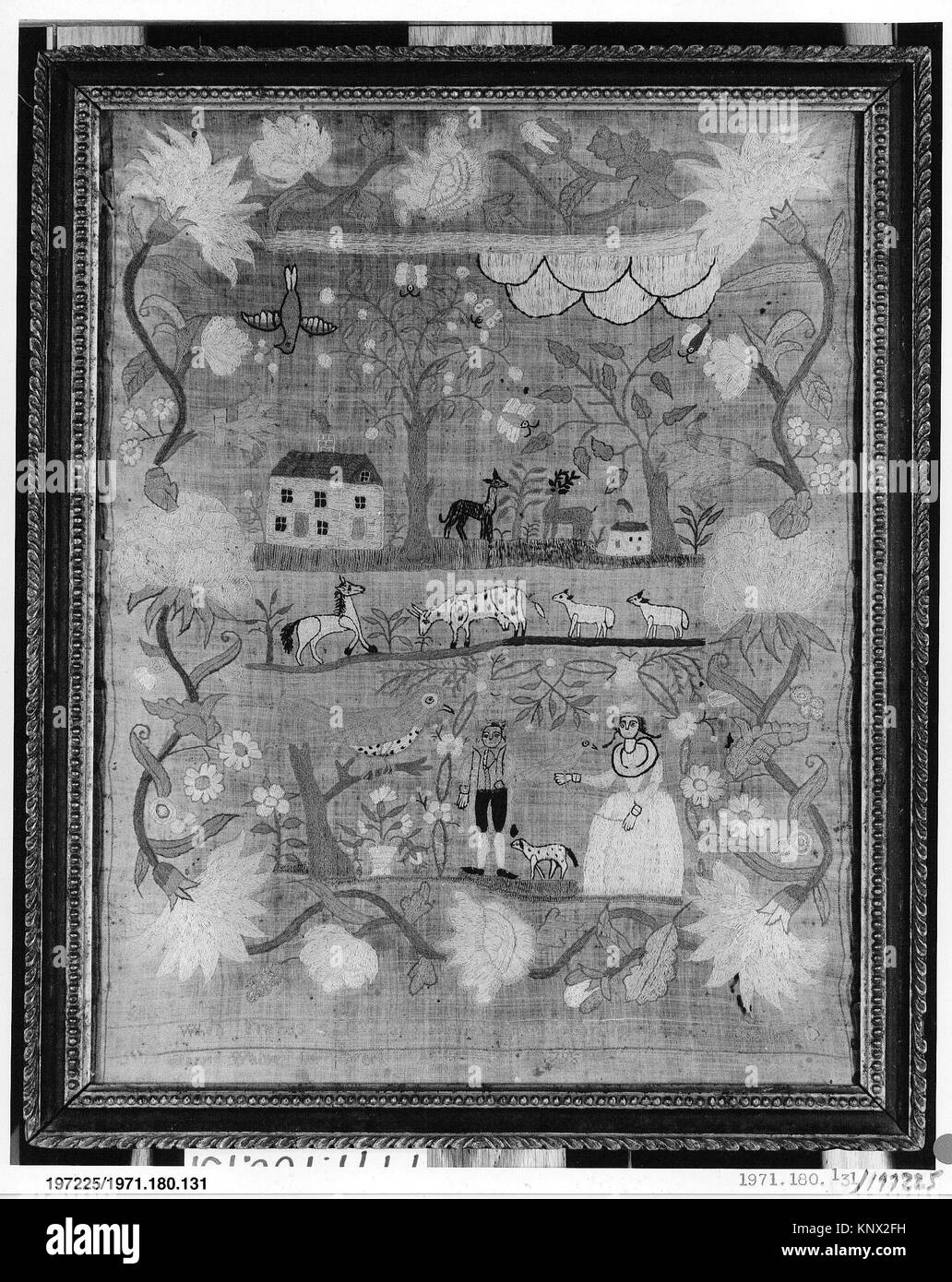 Embroidered Sampler. Maker: Mary Waine (born 1783); Date: ca. 1795; Geography: Made in Boston, Massachusetts, United - Stock Image