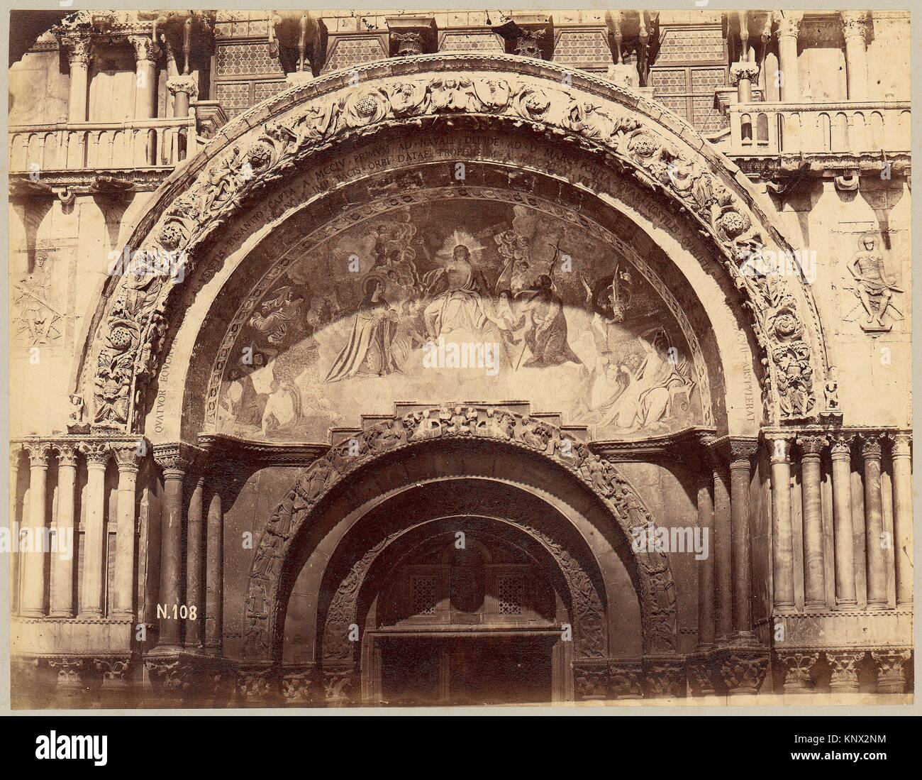 [Church Portal with Mosaic of Christ Enthroned in Majesty]. Artist: Unknown; Date: 1880s; Medium: Albumen silver - Stock Image