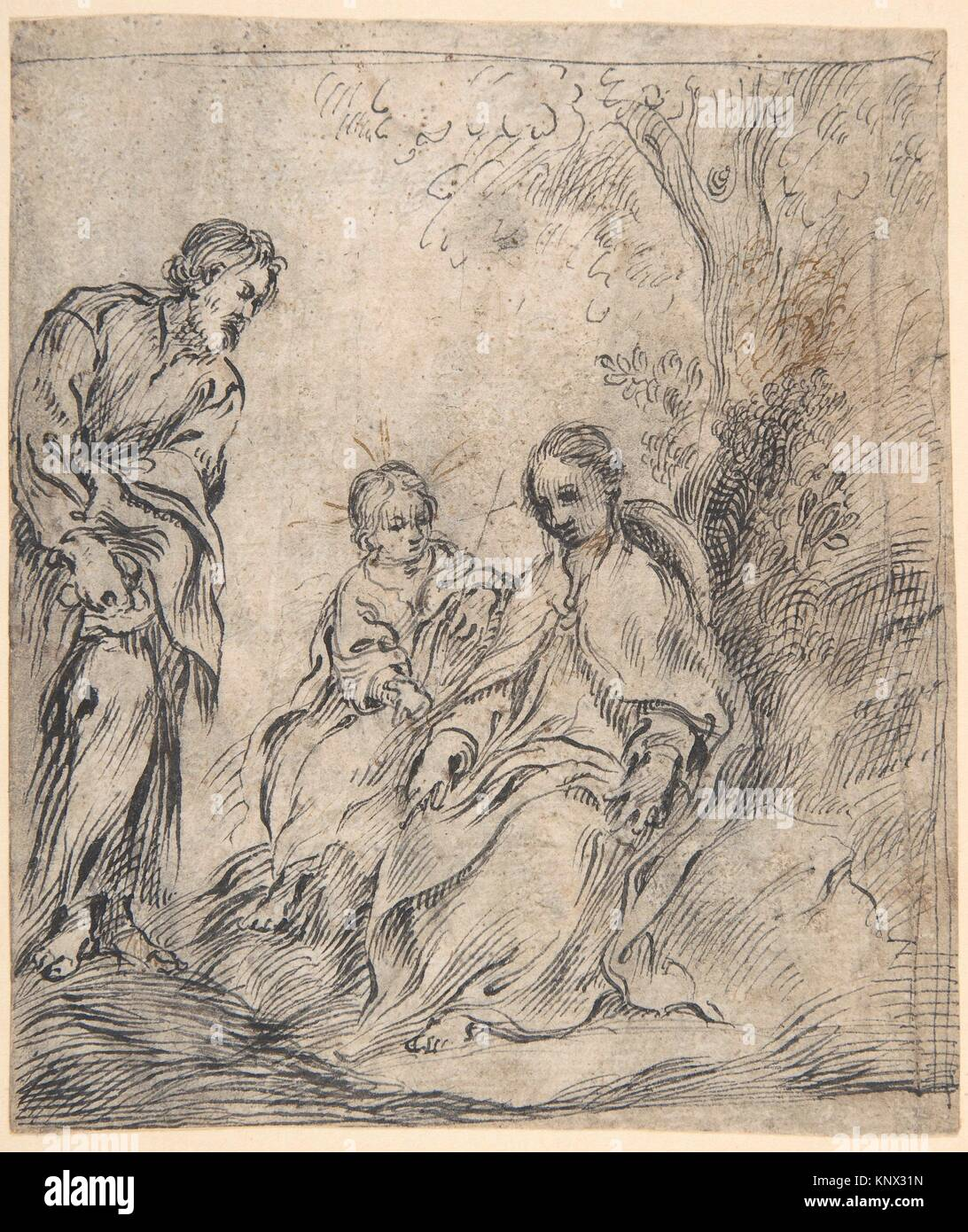 The Youthful Baptist with his Parents. Artist: attributed to Antonio del Castillo y Saavedra (Spanish, Cordoba 1616 - Stock Image